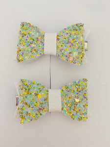 Piggy Tail Bows - Glitter - Mint and Gold