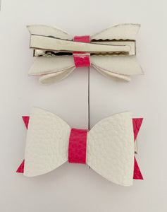 Piggy Tail Bows - White and Hot Pink