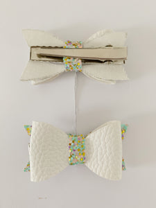 Piggy Tail Bows - White faux leather