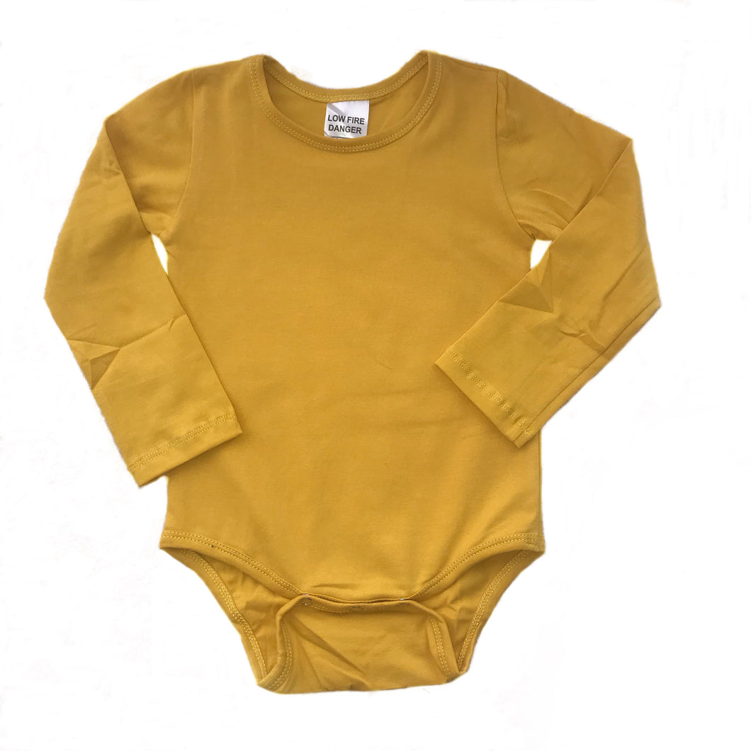 Bodysuit - Mustard with Plain Long Sleeve