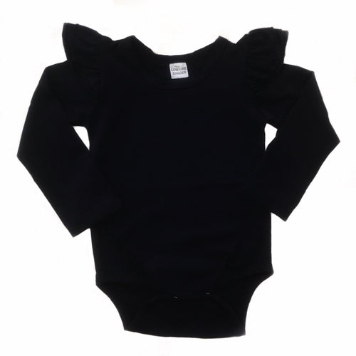 Bodysuit - Dark Navy with Long Sleeve and Flutter