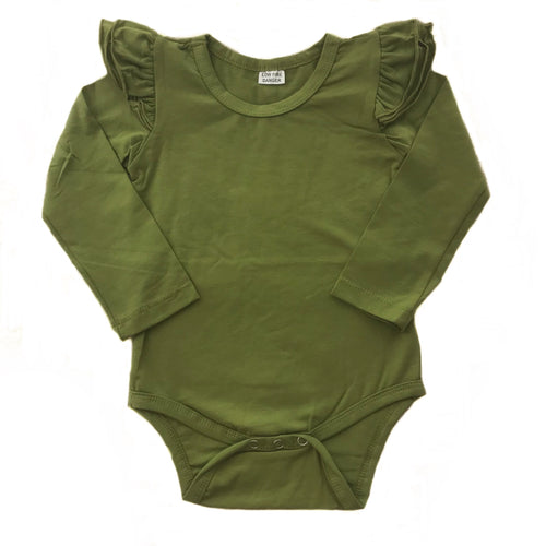 Bodysuit - Olive with Long Sleeve and Flutter