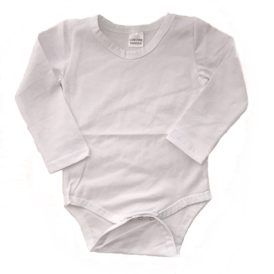 Bodysuit - White with Plain Long Sleeve
