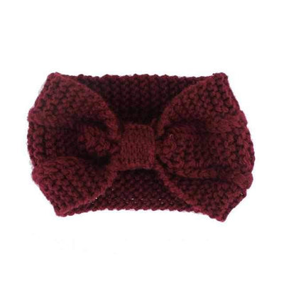 Knitted Headband ShopRely Wine red Bow