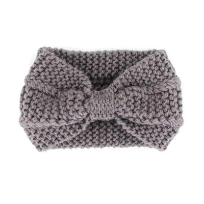 Knitted Headband ShopRely Gray Bow