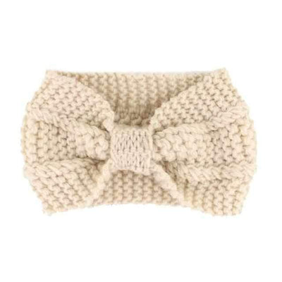 Knitted Headband ShopRely Beige Bow