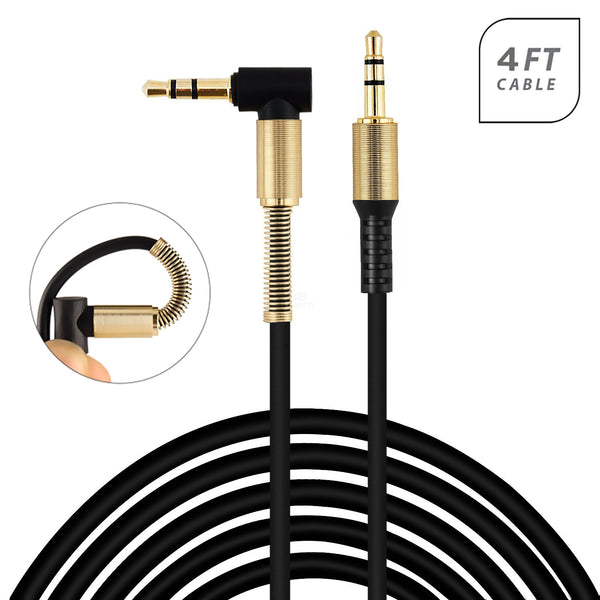 Universal Metallic Angled Auxiliary 3.5mm Audio Stereo Cable Black