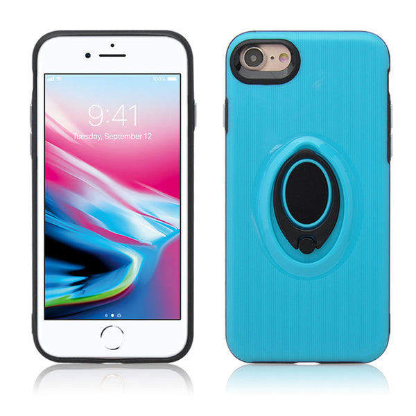 Apple IPhone 7 / IPhone 8 Shockproof Hybrid 360° Rotatable Ring Stand Magnetic Car Mount Feature Case Cover Blue