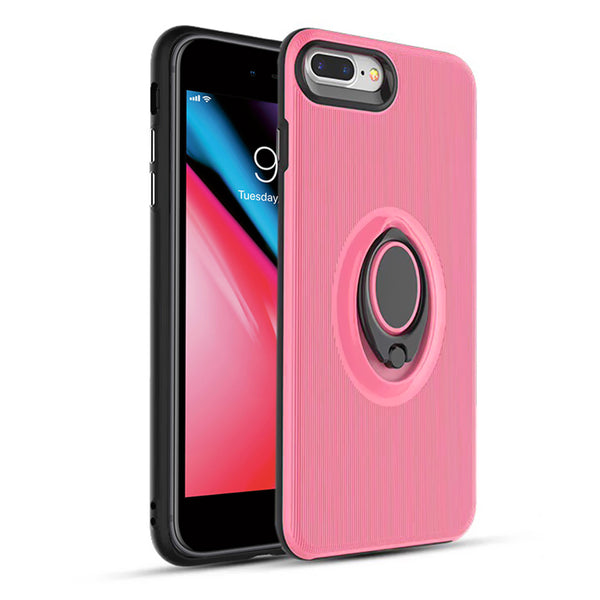 Apple IPhone 7 Plus / IPhone 8 Plus Shockproof Hybrid 360° Rotatable Ring Stand Magnetic Car Mount Feature Case Cover Pink