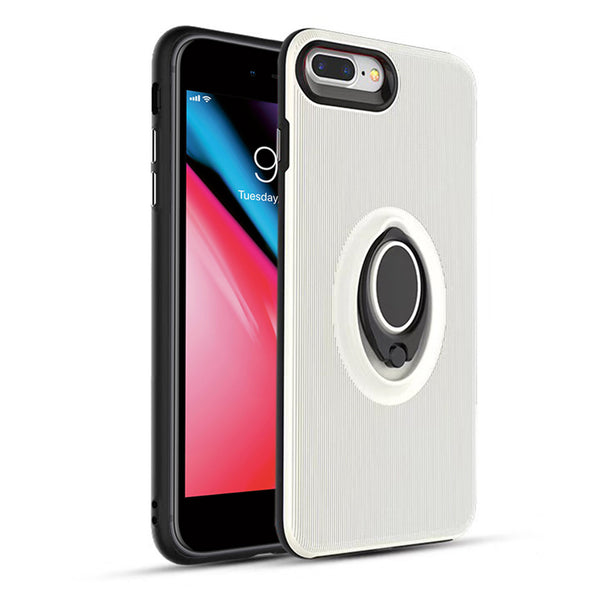 Apple IPhone 7 Plus / IPhone 8 Plus Shockproof Hybrid 360° Rotatable Ring Stand Magnetic Car Mount Feature Case Cover White