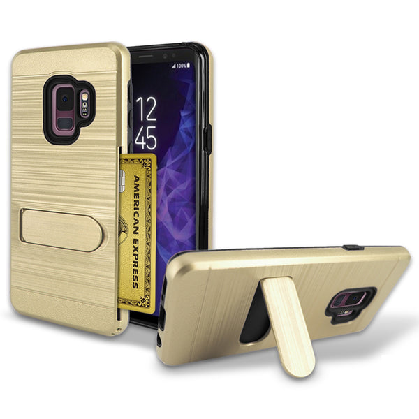 Samsung Galaxy S9 Brushed Shockproof With Kickstand Card Slot Holder Case Cover Gold