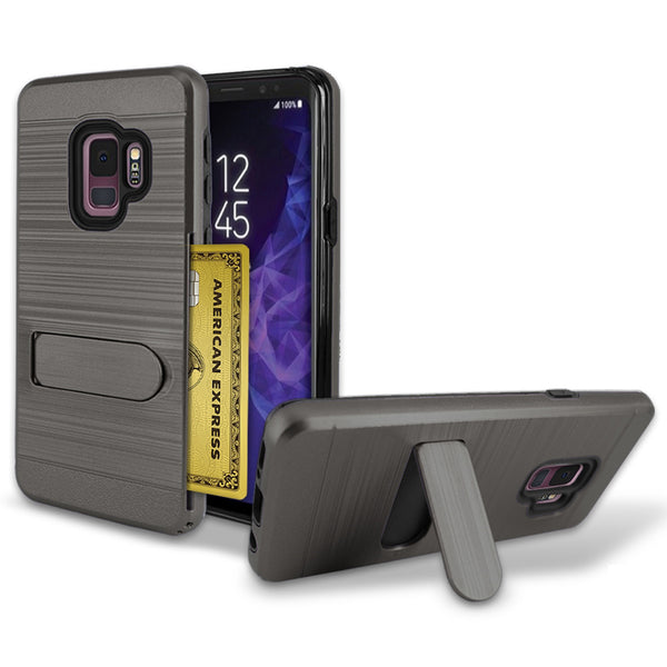 Samsung Galaxy S9 Brushed Shockproof With Kickstand Card Slot Holder Case Cover Gray