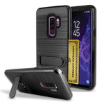 Samsung Galaxy S9 Plus Brushed Shockproof With Kickstand Card Slot Holder Case Cover Black