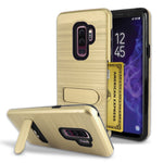 Samsung Galaxy S9 Plus Brushed Shockproof With Kickstand Card Slot Holder Case Cover Gold