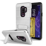 Samsung Galaxy S9 Plus Brushed Shockproof With Kickstand Card Slot Holder Case Cover Silver