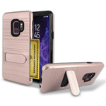 Samsung Galaxy S9 Brushed Shockproof With Kickstand Card Slot Holder Case Cover Rose Gold