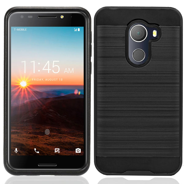 Alcatel A30 Plus / A30 Fierce 2017 / REVVL / Walters / 5049W Hybrid Metal Brushed Shockproof Tough Case Cover Black