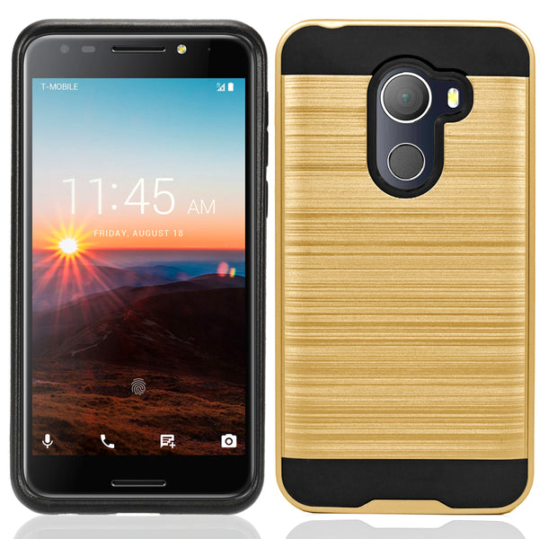 Alcatel A30 Plus / A30 Fierce 2017 / REVVL / Walters / 5049W Hybrid Metal Brushed Shockproof Tough Case Cover Gold