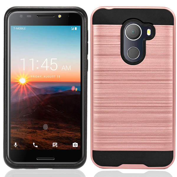 Alcatel A30 Plus / A30 Fierce 2017 / REVVL / Walters / 5049W Hybrid Metal Brushed Shockproof Tough Case Cover Rose Gold