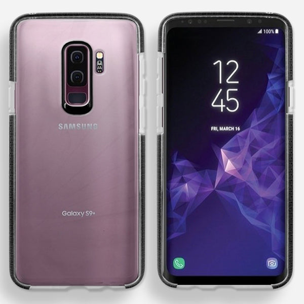 Samsung Galaxy S9 Plus Full Body Hybrid Crystal TPU Transparent Bumper Case Cover Black