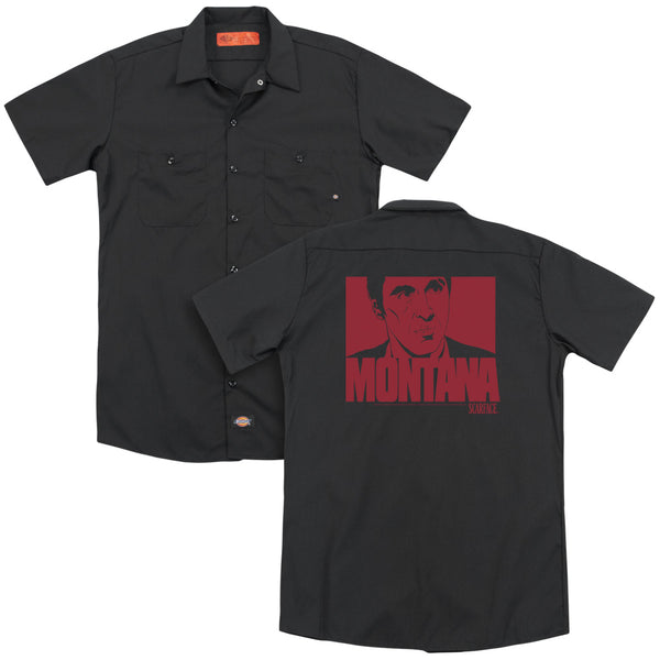 Scarface - Montana Face(Back Print) Adult Work Shirt