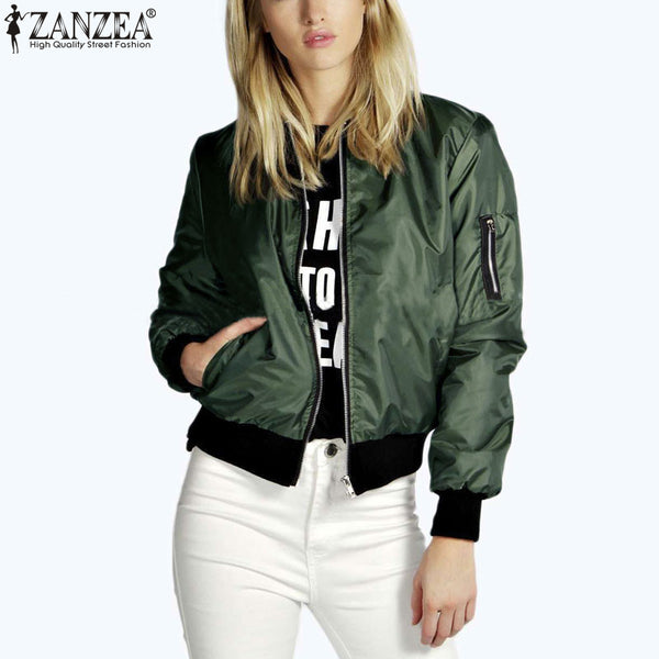 Zanzea 2018 Fashion Women Solid Celeb Bomber Long Sleeve Thin Jacket Coat Casual Stand Collar Slim Short Outerwear Plus Size