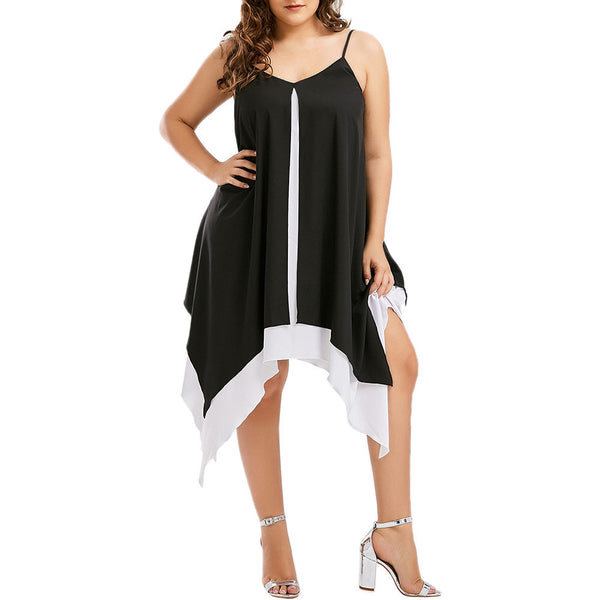 Women Plus Size Bilayer Sleeveless Irregular Swing Loose Mini Sling Dress