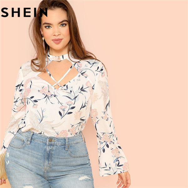 SHEIN Floral Print Elegant Long Bell Sleeve Plus Size Office Lady Blouse Autumn Fashion Crisscross Cut Out Neck Shirt Blouses