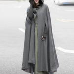 ZANZEA Women Winter Hooded Open Front Cloak Loose Solid Long Coat Hoodies Cosplay Outwear Christmas Casual Cape Poncho Plus Size