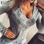 Plus Size Women Sweater Pullover 2018 Autumn Sexy V Neck Long Sleeve Top Hollow  Sweaters Knitwear Casual Pullover Female Jumper