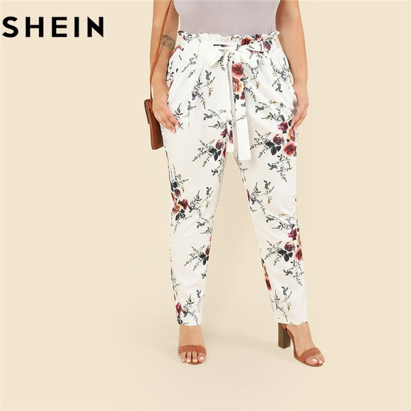 SHEIN Floral Print Casual Belted Ruffle Waist White Plus Size Women Pants 2018 Autumn Fashion Elegant Sashes Tapered Trousers