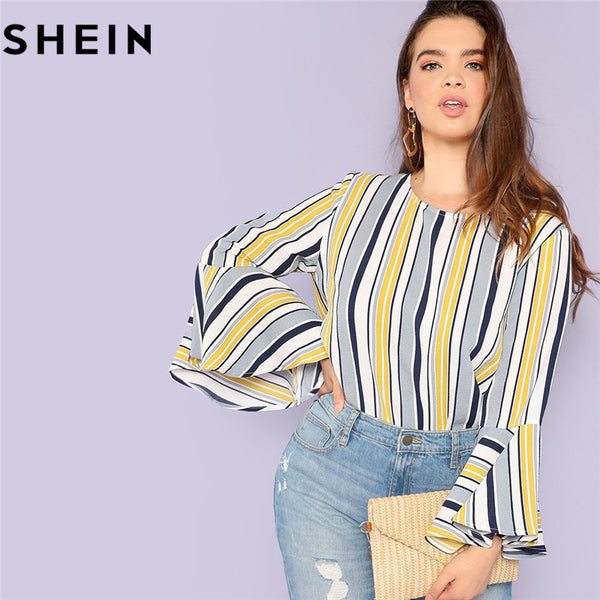 SHEIN Elegant Multicolor Striped Ruffle Sleeve Plus Size Long Women Blouses 2018 Autumn Office Lady O Neck Fashion Tops Blouse