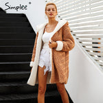 Simplee Faux lambswool thick women jacket coat plus size Winter warm hairly jacket Women autumn outerwear female overcoat 2018