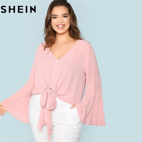 SHEIN Elegant Pink V Neck Ruffle Sleeve Knot Hem Women Plus Size Blouses 2018 Autumn Fashion Solid Workwear Office Lady Shirts