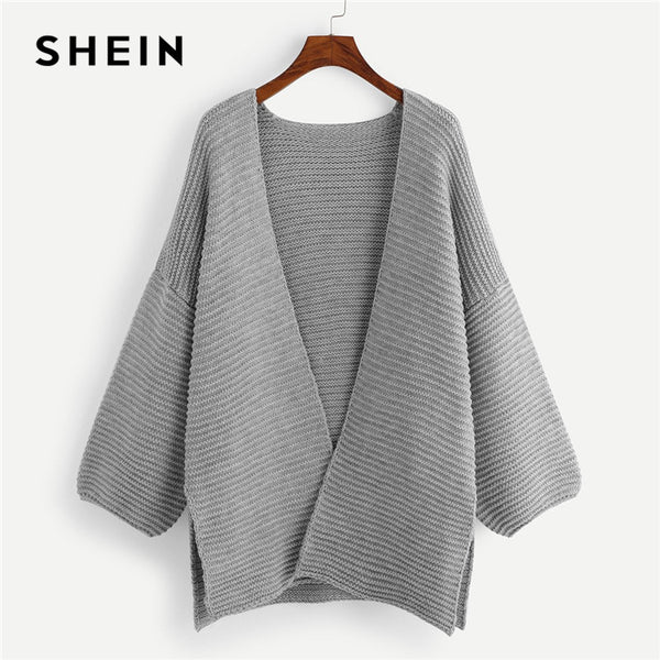 SHEIN Grey Kintted Plus Size Slit Side Womens Long Cardigans Sweater 2018 Office Lady Long Drop-Shoulder Sleeve Casual Sweaters