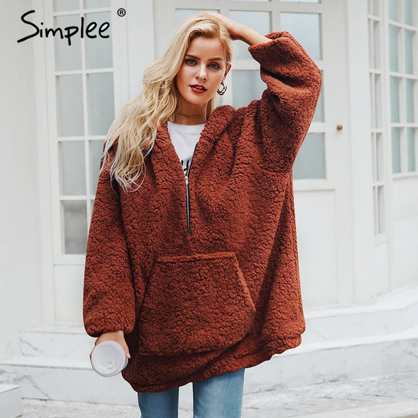 Simplee Faux lambswool thick women jacket coat plus size Winter warm teddy coat Hooded fur coat 2018 outerwear female overcoat