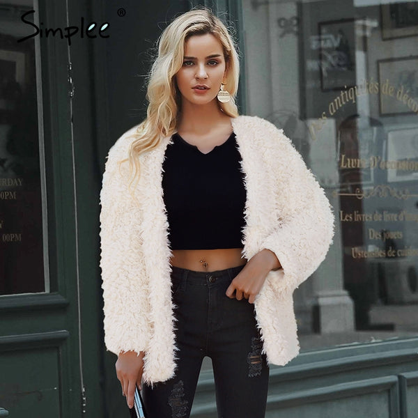 Simplee V neck furry fur women coat fluffy warm long sleeve faux fur coat 2018 Autumn winter hairy plus size teddy jacket coat