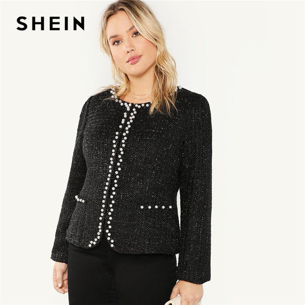 SHEIN Black Elegant Pearl Beaded Women Plus Size Chic Coat 2018 Autumn Fashion Office Lady Open Front Beading Outerwear
