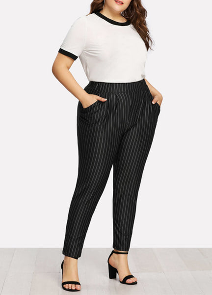 XXXL 4XL 5XL Plus Size Women Clothing 2018 Autumn Striped Print High Waist Harem Pants Pocket OL Casual Slim Long Trousers Black