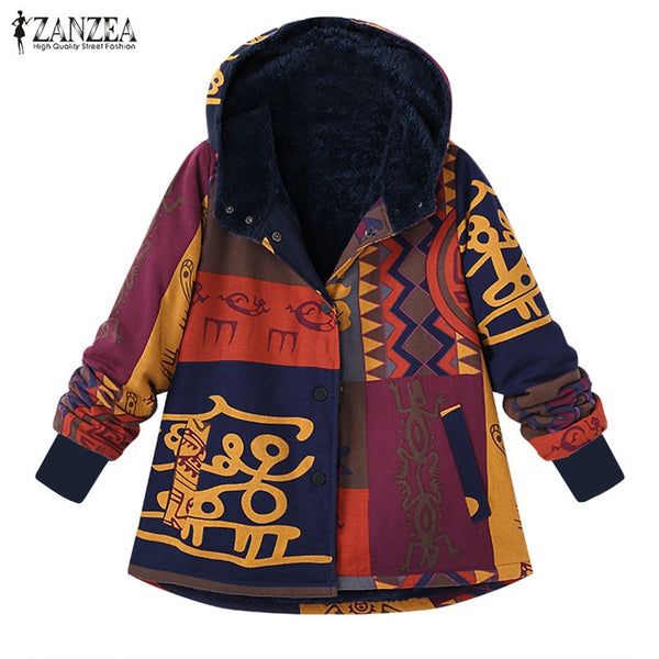 Plus Size 2018 ZANZEA Vintage Winter Hooded Plush Fluffy Warm Coat Women Jackets Floral Printed Long Sleeve Fleece Outerwear