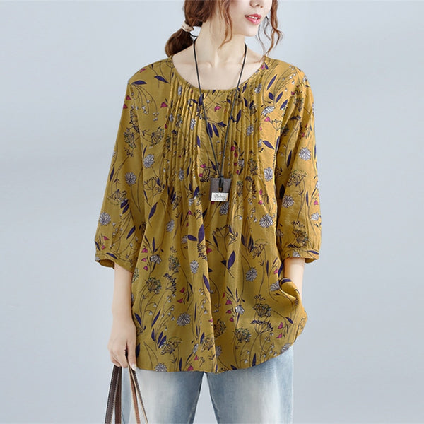 Plus Size 2018 Summer ZEANZE Women Casual Floral Print Blouse Pleated O Neck 3/4 Sleeve Loose Beach Boho Shirt Work OL Party Top