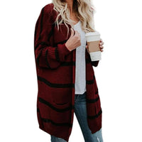 2018 Women's Fashion Long Sleeve Loose Long Section Stripes Warm Knit Cardigan Cozy Sweater Plus Size