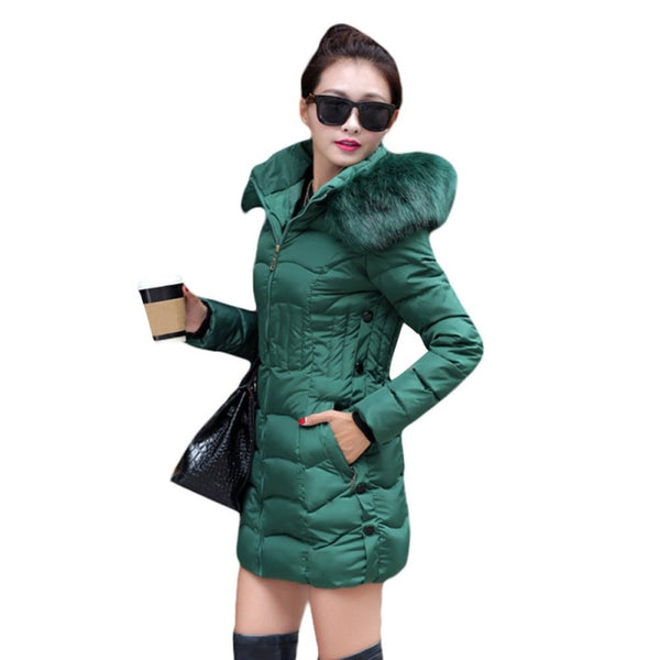 Women Winter Fashion Plus Size Fur Collar Thick Cotton Jacket Warm Outwear