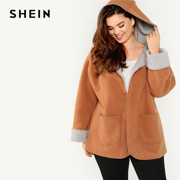 SHEIN Brown Plus Size Fleece Lined High Steet Women Hooded Coats 2018 Autumn Pocket Front Casual Warm Outerwear With Hat