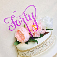 Forty Cake Topper 40th Birthday Cake Topper Cake Decoration Cake Decorating Birthday Cakes Forty Fortieth Birthday Cake Topper SMT Sugar Boo
