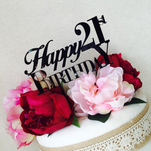Happy Birthday Cake Topper with Number Cake Topper Cake Decoration Cake Decorating Birthday Cake Topper 18th 21st 30th 40th 50th 60th 70th