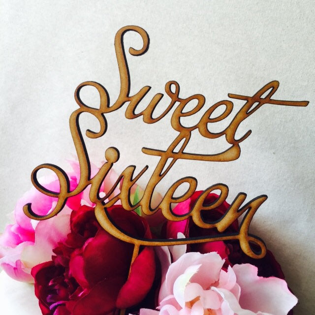 Sweet Sixteen Cake Topper 16th Birthday Cake Topper Cake Decoration Cake Decorating Birthday Cakes Sixteenth Cake V2 Sugar Boo Cake Toppers