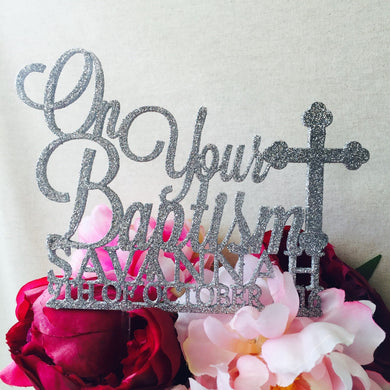 On Your Baptism Cake Topper Personalised Cake Decoration Personalised Cake Toppers Baptism Cake Topper Religious Cake Topper Cross Cake Top