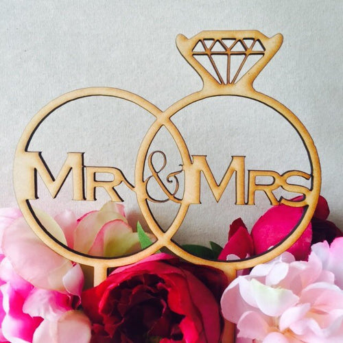 Wedding Cake Topper Mr & Mrs Wedding Rings Wedding Cake Topper Cake Topper Cake Decoration Personalised Cake Toppers Custom designs SugarBoo