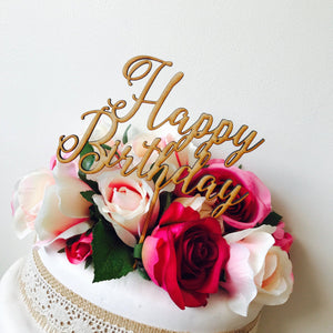 Happy Birthday Cake Topper Birthday Cake Topper Cake Decoration Cake Decorating Happy Birthday Cursive Topper WPP Sugar Boo Cake Toppers